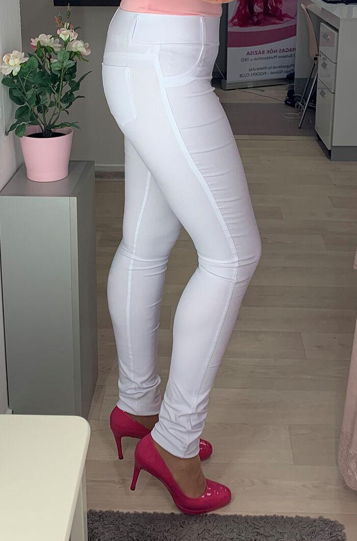 3ca94c889e Fehér gumis derekú nadrág - Utcai nadrágok - Divatos ruhák magas ...
